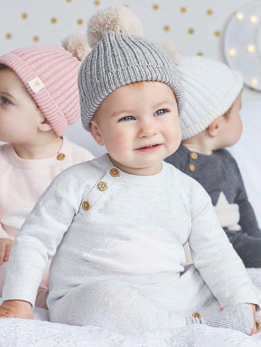 3963c3f3fdd Billie Faiers Grey Rib Knit Faux-Fur Pom-Pom Bobble Hat