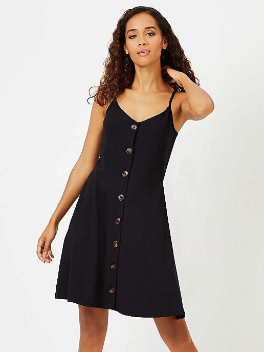 db655b45458 Black Button-Down Jersey Dress