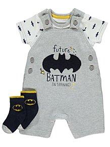 2e920c95 Batman 3 Piece Dungarees Bodysuit and Socks Set