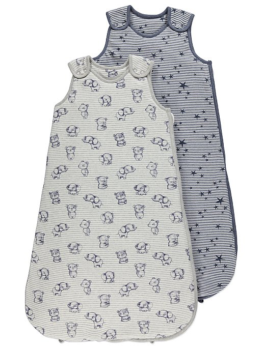 cheaper f2230 44fcd Grey Baby Elephant 2.5 Tog Sleep Bags 2 Pack
