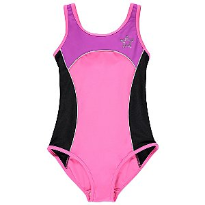 Pink Contrast Panel Diamante Star Swimsuit