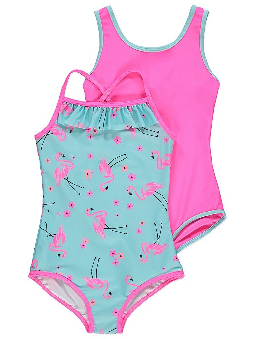 664619708d08b Pink Flamingo Swimsuits 2 Pack | Kids | George