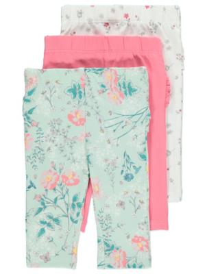 Pink Frill Trim Leggings 3 Pack