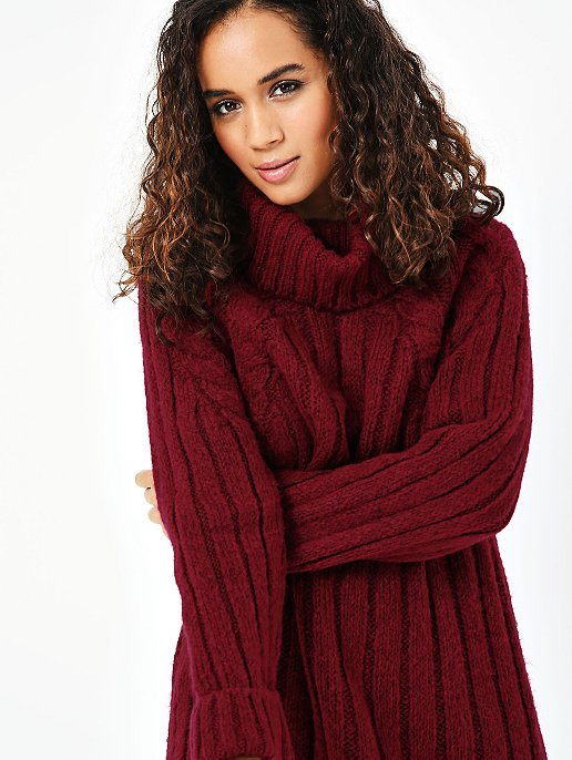 fa928689b778 Burgundy Cowl Neck Knitted Longline Jumper