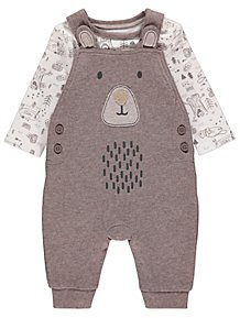 3e3fbfec0d9 Brown Woodland Bear Dungarees and Bodysuit Outfit. £9