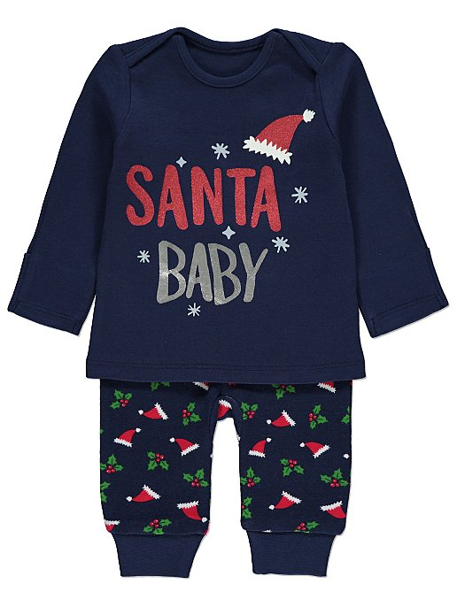 c07e0c3b1 Navy Glittering Baby Mini Me Christmas Pyjamas