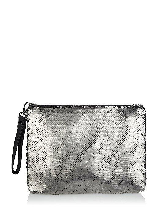 ac49e2bce0a Gunmetal-Tone Swipe Sequin Clutch Bag | Women | George