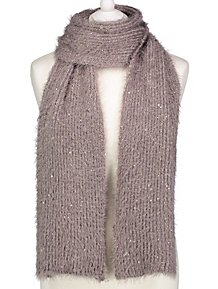 3ade6c6fea7 Grey Sequinned Eyelash Knitted Scarf