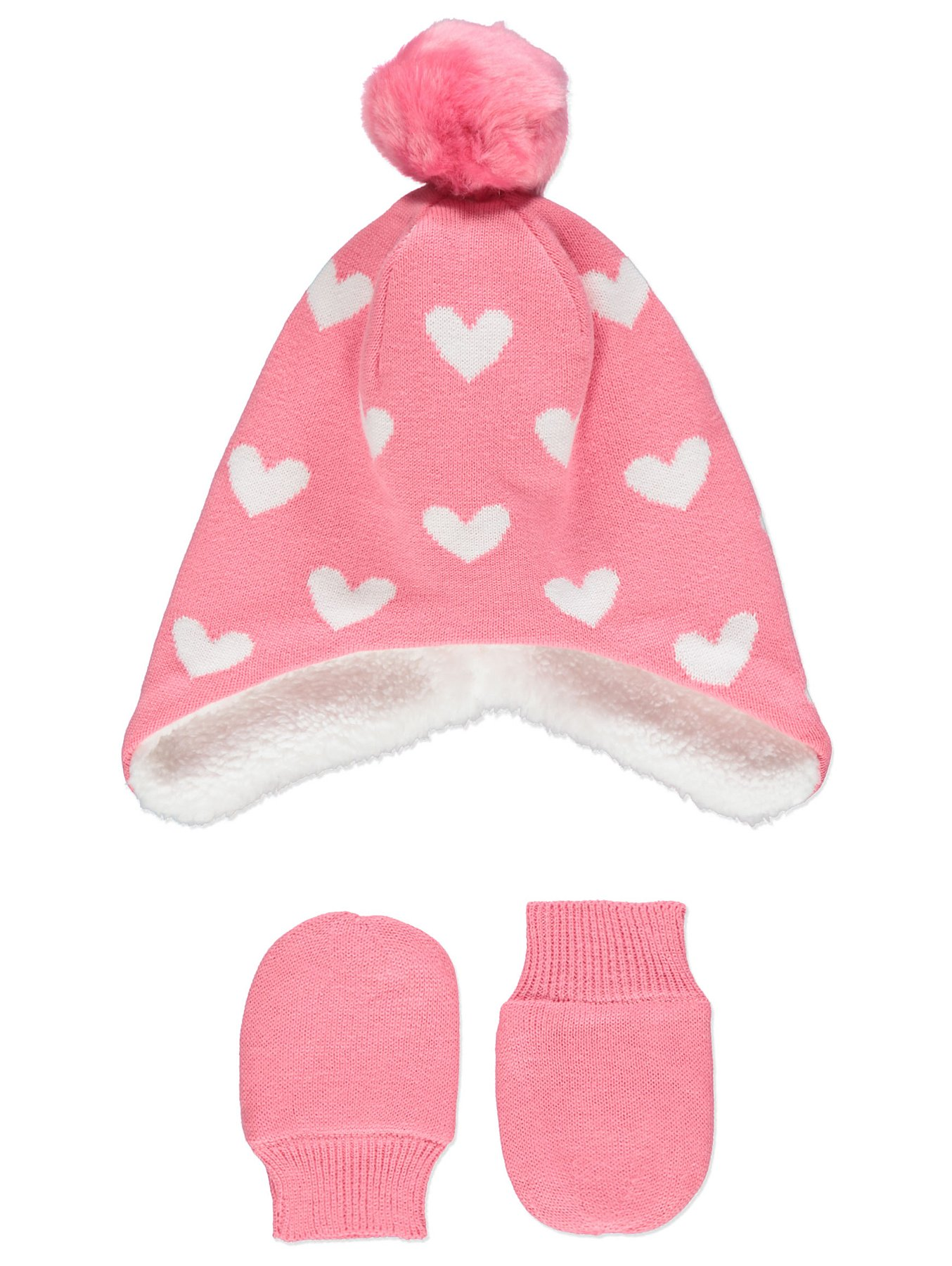 0ce36651c66 Pink Heart Print Trapper Hat and Mittens Set. Reset