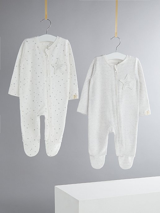 d8e086a9921d Billie Faiers White Star and Stripe Zipped Sleepsuits 2 Pack