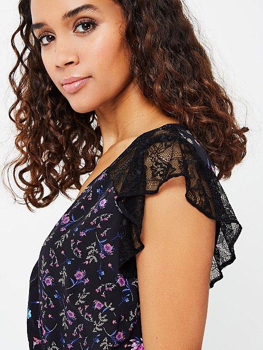 fd8c25ac820fdc Lace Trim Floral Print Wrap Midi Dress | Women | George