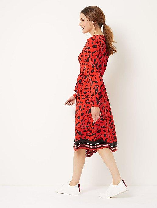 Red Animal Print Wrap Midi Dress  f248887ff