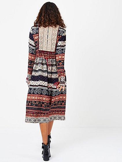 autumn print embellished midi dress women george