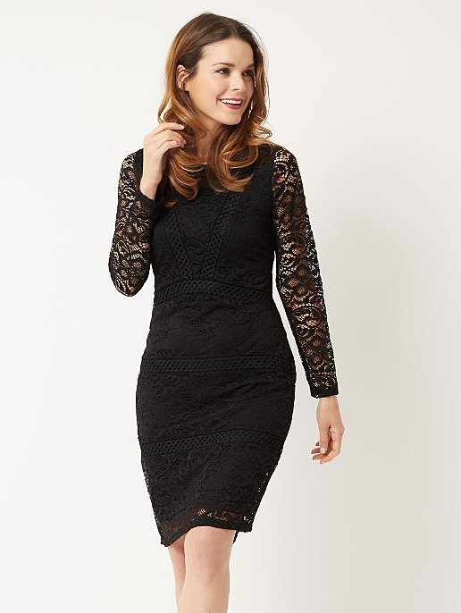 87503f24fbae Black Long Sleeve Fitted Lace Dress | Women | George