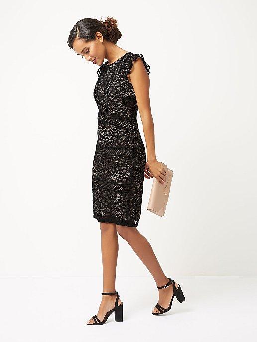Black Cap Sleeve Lace Pencil Dress Women George