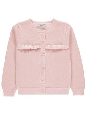 Pink Shimmering Crew Neck Cardigan