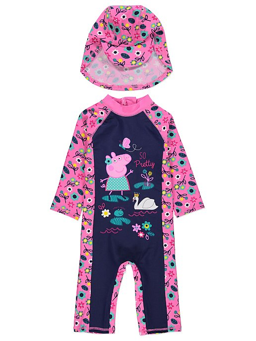 837ea24f00 Peppa Pig Sun Protection UV40 Swimsuit and Hat Set. Reset
