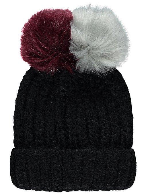 Black Chunky Knit Double Pom-Pom Bobble Hat. Reset 4e5af8485bb8