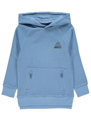 Light Blue Ribbed Long Sleeve Slogan Hoodie