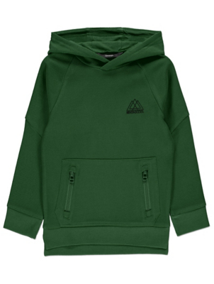 Bottle Green Ribbed Long Sleeve Slogan Hoodie