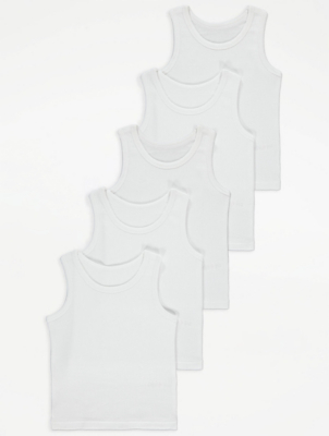 White Ribbed Vests 5 Pack