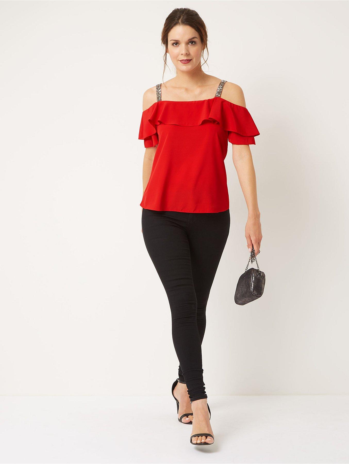 92fc554151001 Red Embellished Strap Cold Shoulder Blouse. Reset