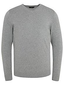 b3172cec102 Grey Fine Knit V-Neck Jumper