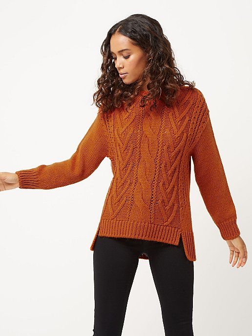 0700fae02 Burnt Orange Chunky Cable Knit Jumper