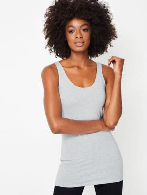 Marl Grey Longline Sleeveless Vest Top