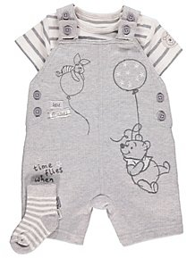 a357d94038bb Disney Winnie the Pooh Dungarees Bodysuit and Socks Outfit
