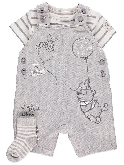 b88c0a3c68d6 Disney Winnie the Pooh Dungarees Bodysuit and Socks Outfit