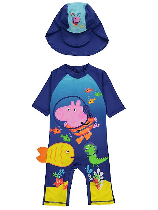 a1dc614778 Peppa Pig George Pig Sun Protection UV40 Swimsuit and Hat Set