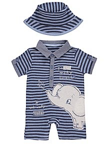 49611cff6c8 Blue Striped Elephant Romper and Sun Hat Set