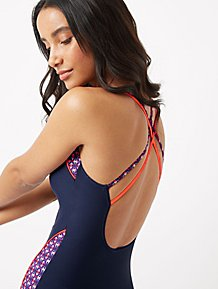 d113cea8c69 Bodysculpt Navy Flower Patterned Racer Swimsuit