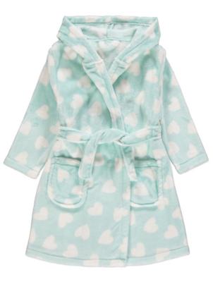 Mint Green Heart Print Dressing Gown