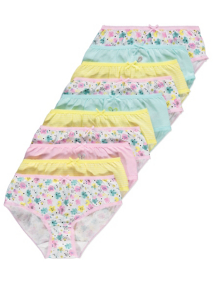 Floral and Stripe Print Briefs 10 Pack