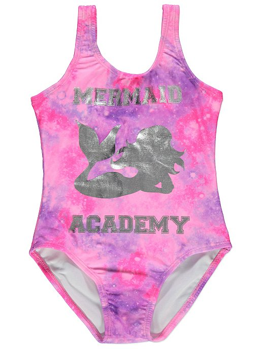 163e1ce896b0d Pink Mermaid Foil Swimming Costume   Kids   George