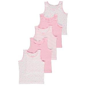 Pink Heart Print Vests 5 Pack