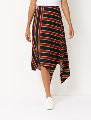 Navy Striped Hanky Hem Skirt