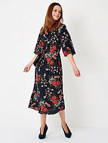 b094a022982f Black Floral Knot Front Angel Sleeve Midi Dress