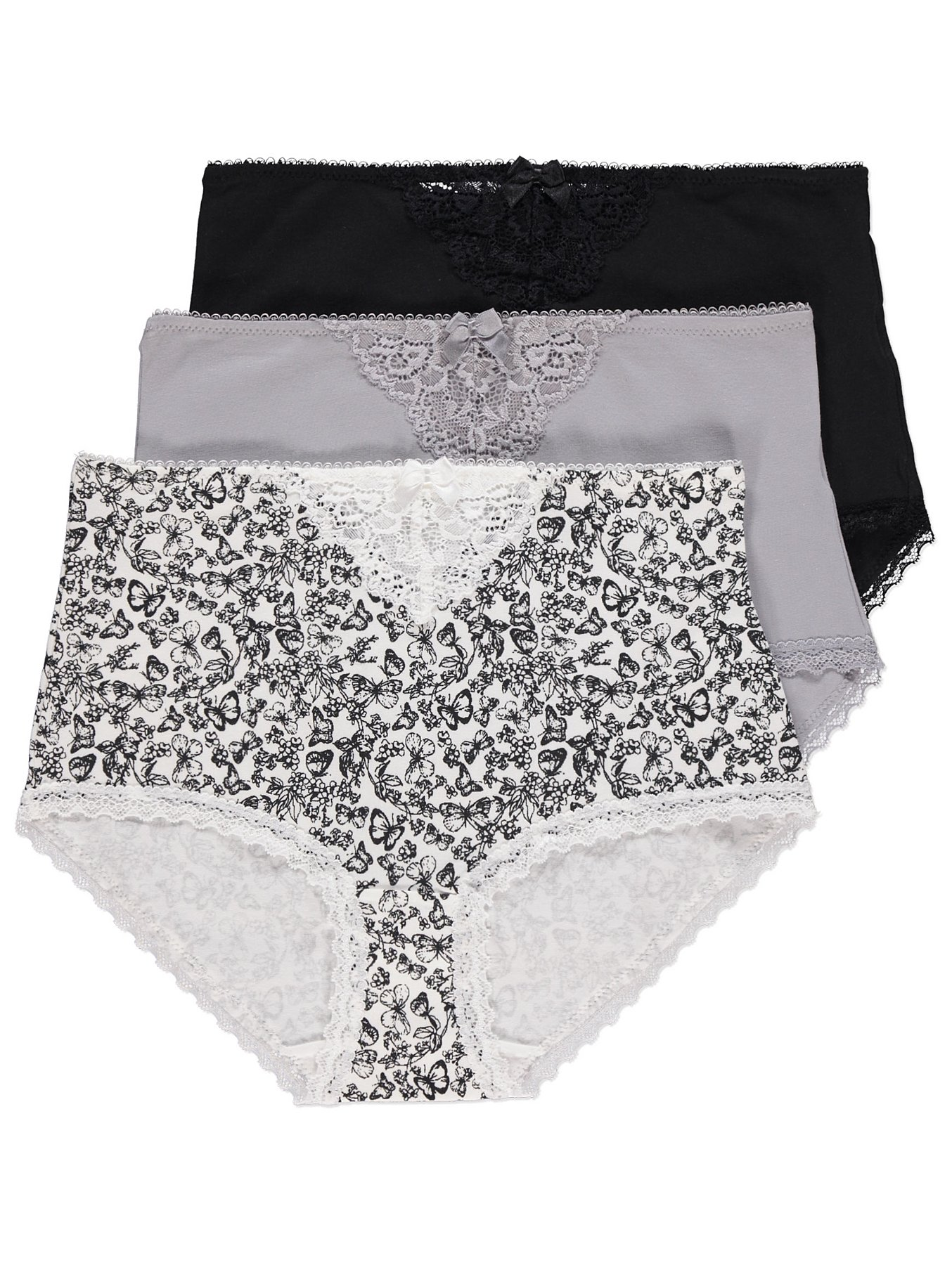2af5c259e629 Monochrome Butterfly Print Full Briefs 3 Pack | Women | George