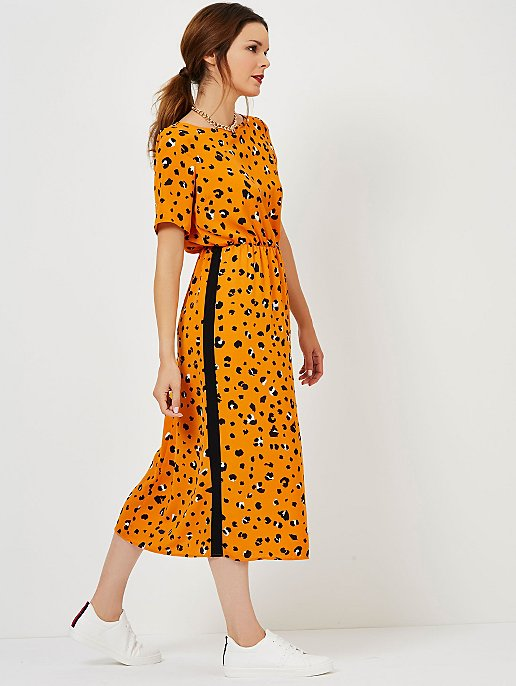 8588b22f94 Mustard Animal Print Side Stripe Midi Dress. Reset