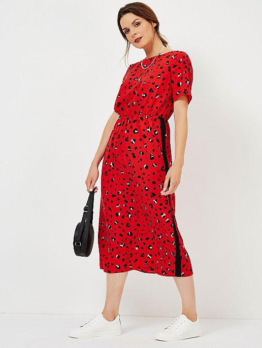 b8f4c64dae Red Animal Print Side Stripe Midi Dress