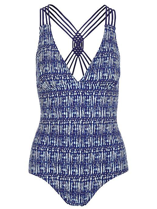 161ec8b56b Blue Striped Plunge Racer Back Swimsuit | Women | George