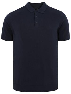 Navy Pique Short Sleeve Polo Shirt