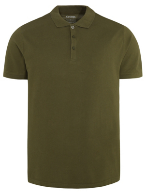 Khaki Pique Short Sleeve Polo Shirt