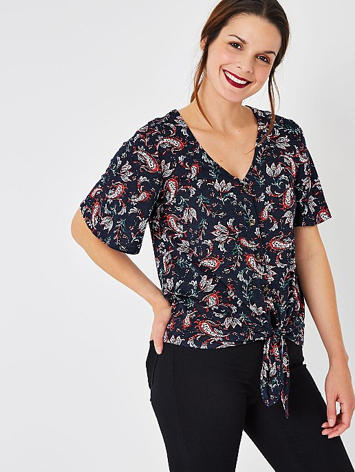 183ecf7c312e41 Navy Paisley Print Knot Front Top. Reset