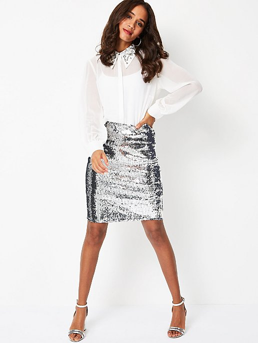 coupon code cost charm multiple colors Silver Sequin Skirt | Women | George