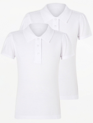 Girls White Slim Fit Scallop School Polo 2 Pack