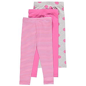 Pink Striped and Spotty Leggings 3 Pack